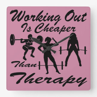 Weight Lifting Working Out Cheaper Than Therapy  3 Square Wall Clock