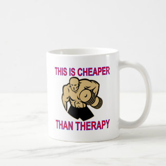 Weight Lifting Working Out Cheaper Than Therapy Coffee Mug