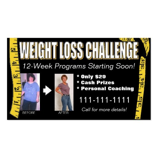 Weight Loss Challenge Business Card