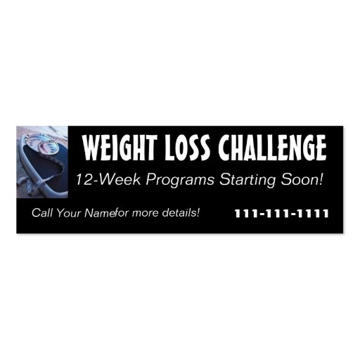 Weight Loss Challenge Profile Card Business Card Templates