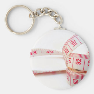 Weight Loss Measuring Tape Basic Round Button Keychain