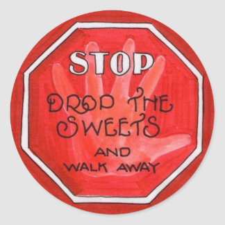 weight loss stop sign round sticker