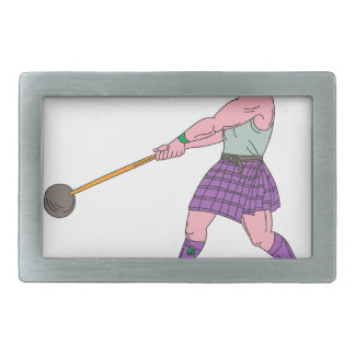 Weight Throw Highland Games Athlete Drawing Belt Buckles
