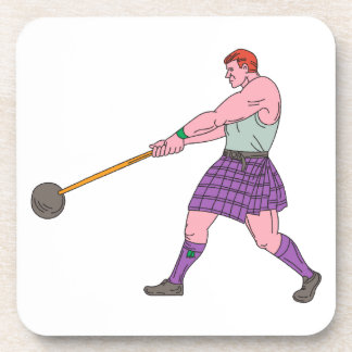 Weight Throw Highland Games Athlete Drawing Coasters