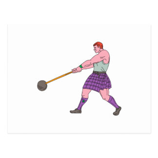 Weight Throw Highland Games Athlete Drawing Postcard