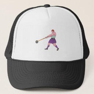 Weight Throw Highland Games Athlete Drawing Trucker Hat