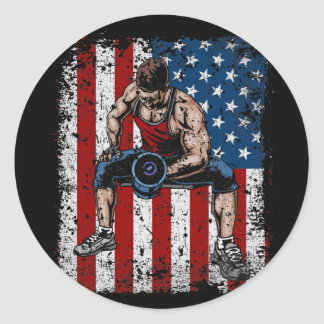 Weightlifter Dumbbell Fitness Classic Round Sticker