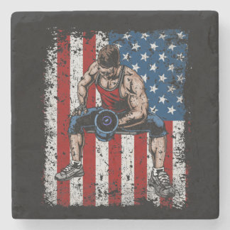 Weightlifter Dumbbell Fitness Stone Coaster