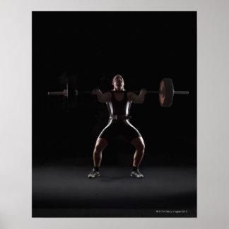 Weightlifter jerking weight poster