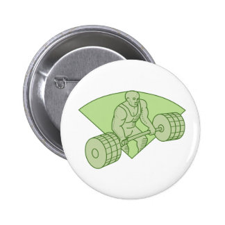 Weightlifter Lifting Barbell Mono Line 2 Inch Round Button