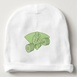 Weightlifter Lifting Barbell Mono Line Baby Beanie