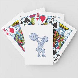 Weightlifter Lifting Barbell Mono Line Bicycle Playing Cards