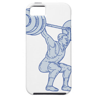 Weightlifter Lifting Barbell Mono Line iPhone 5 Cover