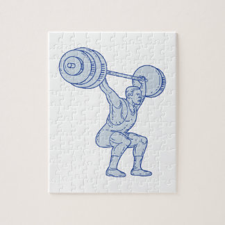 Weightlifter Lifting Barbell Mono Line Jigsaw Puzzle