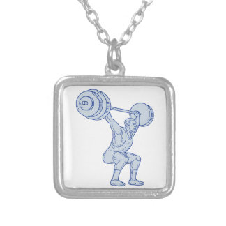 Weightlifter Lifting Barbell Mono Line Silver Plated Necklace