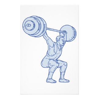 Weightlifter Lifting Barbell Mono Line Stationery