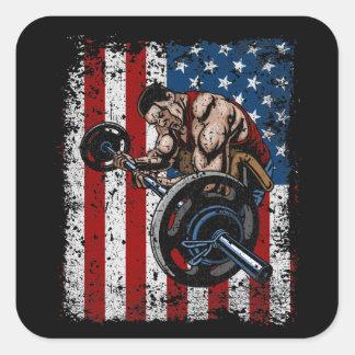 Weightlifter Preacher Curl Gym Square Sticker