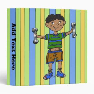 Weightlifting Boy Vinyl Binder