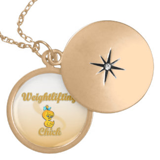 Weightlifting Chick Gold Plated Necklace