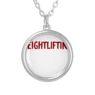 Weightlifting Design Silver Plated Necklace