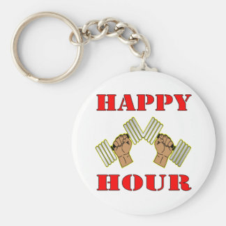 Weightlifting Happy Hour Dumbbells Keychain