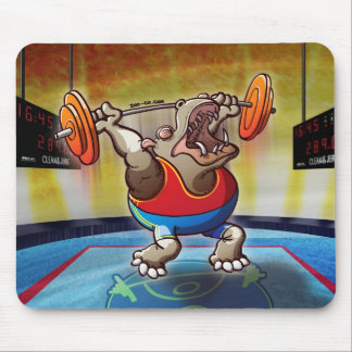 Weightlifting Hippopotamus Mouse Pad