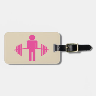 Weightlifting Luggage Tag in Pink
