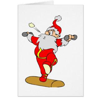 Weightlifting Santa Card