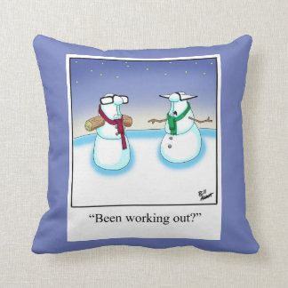 Weightlifting Snowman Humor Pillow Gift