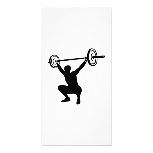 Weightlifting sports customized photo card