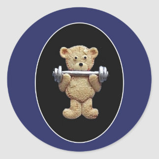 Weightlifting Teddy Bear Round Sticker