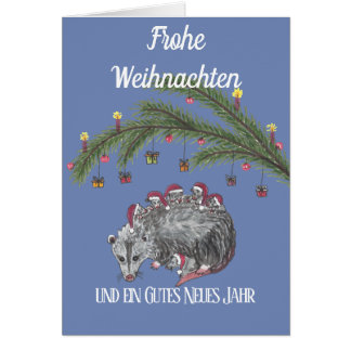 Weihnachstkarte with an opossum a family card