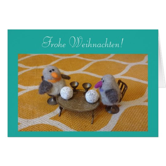 Weihnachstkarte with sweet pair of penguins card