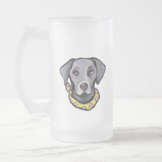 Weimarana Easter Frosted Glass Beer Mug