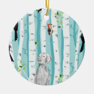 WEIMARANER AND WOODPECKERS CERAMIC ORNAMENT