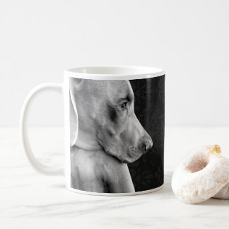 WEIMARANER BLACK AND WHITE DAMASK MUG