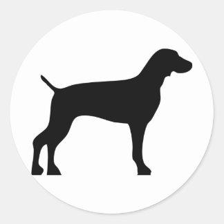 weimaraner-black classic round sticker