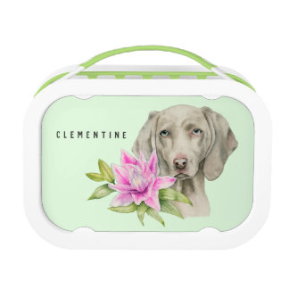 Weimaraner Dog and Lily Watercolor | Add Your Name Lunch Box