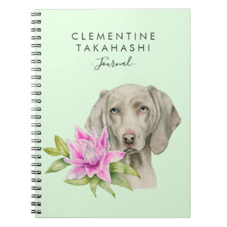 Weimaraner Dog and Lily Watercolor | Add Your Name Notebook