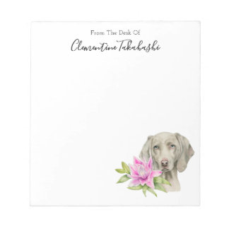 Weimaraner Dog and Lily Watercolor | Add Your Name Notepad