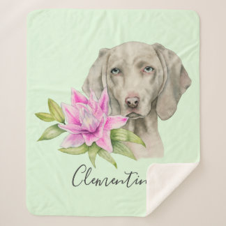 Weimaraner Dog and Lily Watercolor | Add Your Name Sherpa Blanket