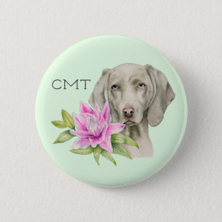 Weimaraner Dog and Lily Watercolor | Monogram 2 Inch Round Button