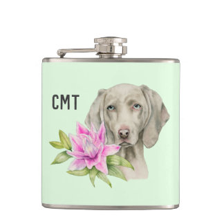 Weimaraner Dog and Lily Watercolor | Monogram Hip Flask