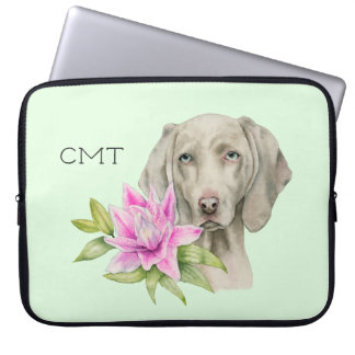 Weimaraner Dog and Lily Watercolor | Monogram Laptop Sleeve