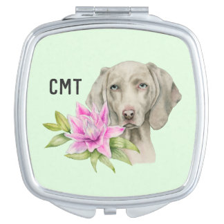 Weimaraner Dog and Lily Watercolor | Monogram Vanity Mirror