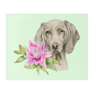 Weimaraner Dog and Lily Watercolor Painting Acrylic Wall Art
