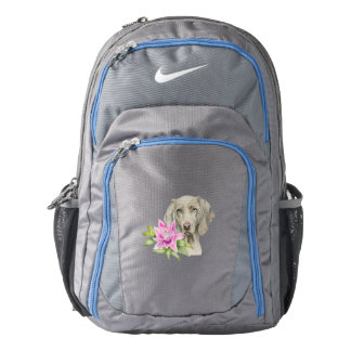 Weimaraner Dog and Lily Watercolor Painting Backpack
