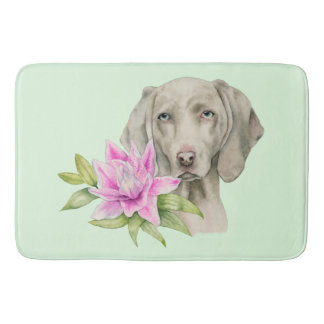 Weimaraner Dog and Lily Watercolor Painting Bath Mat