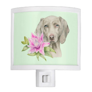Weimaraner Dog and Lily Watercolor Painting Night Light