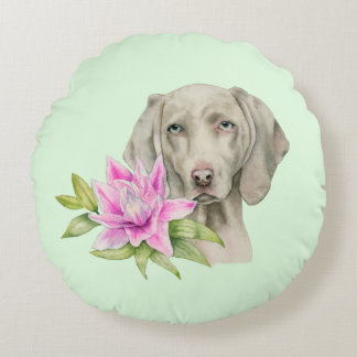 Weimaraner Dog and Lily Watercolor Painting Round Pillow